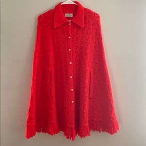 Vintage Red Poncho Cape with Arm Slots. Fits SML